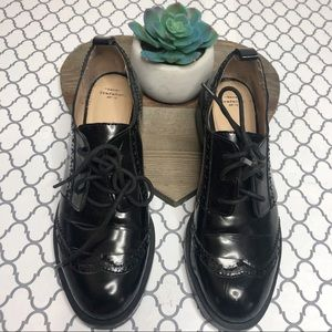 Zara Trafaluc Patent Leather Black Oxford Shoes 8